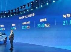 WEY摩卡售价区间17.58万—21.88万元,激光雷达版最快第三季度交付